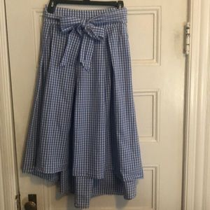 Blue and white checked skirt